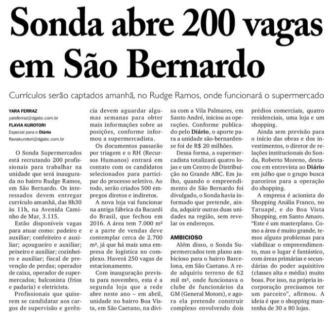 Emprego em SãoBernardo!!