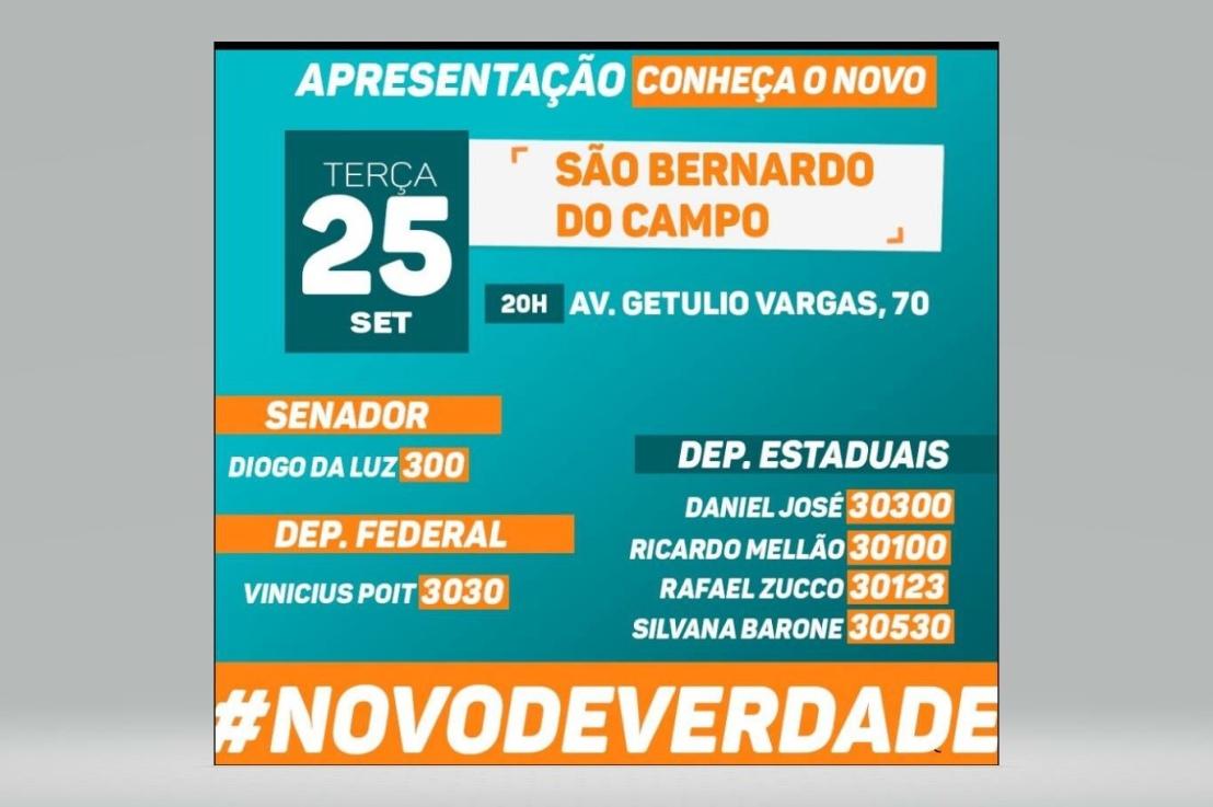 NOVO 30 em São Bernardo do Campo amanhã25/09