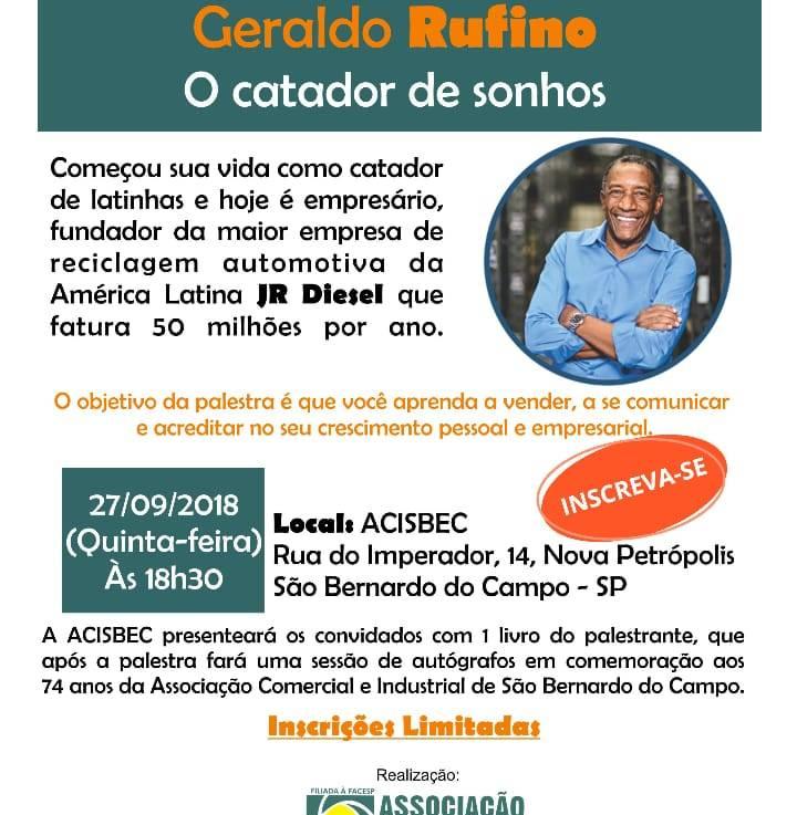 Palestra: O Catador de Sonhos na ACISBEC São Bernardo do Campo 27/09/2018(Quinta-Feira)