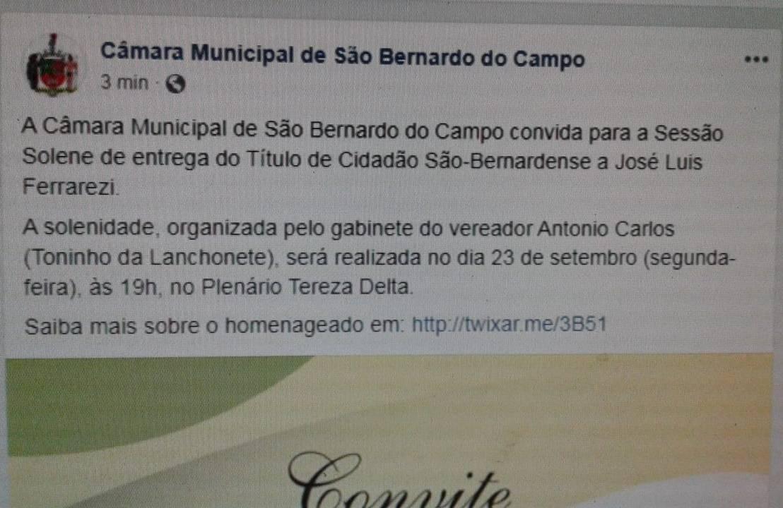 Isso é piada?  O figura é Vereador da cidade faz tempo e agora recebe um título de Cidadão São Bernardense? Deveríamos investigar o custo dessas homenagens porque aitem!