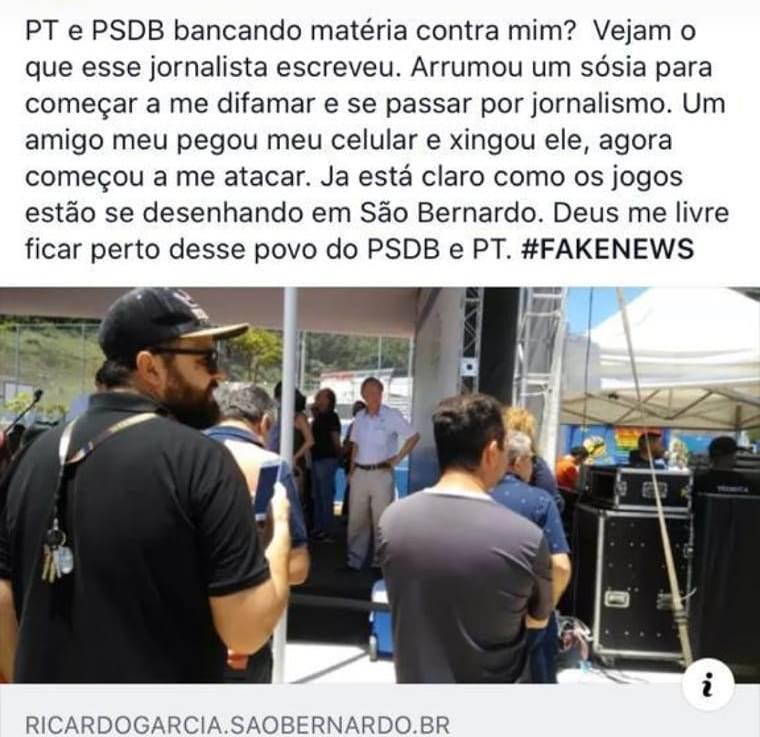 Paulo Chuchu Presidente do PSL em SBC insinuou que a ala podre do PSL e o PsdbT (PSDB&PT) financiaram matéria. Ledoengano!