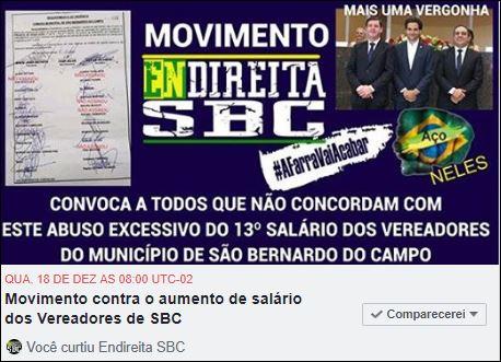 Movimento Endireita SBC convoca: Ato contra aumento de Salário dos Vereadores de SãoBernardo