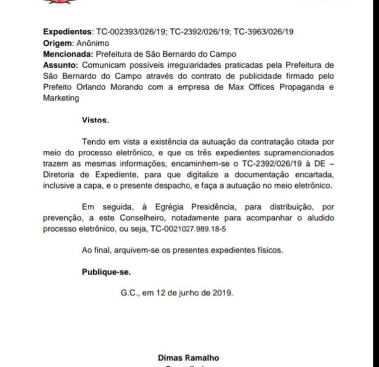 Contratos de Publicidade e Marketing de São Bernardo na mira do Tribunal deContas