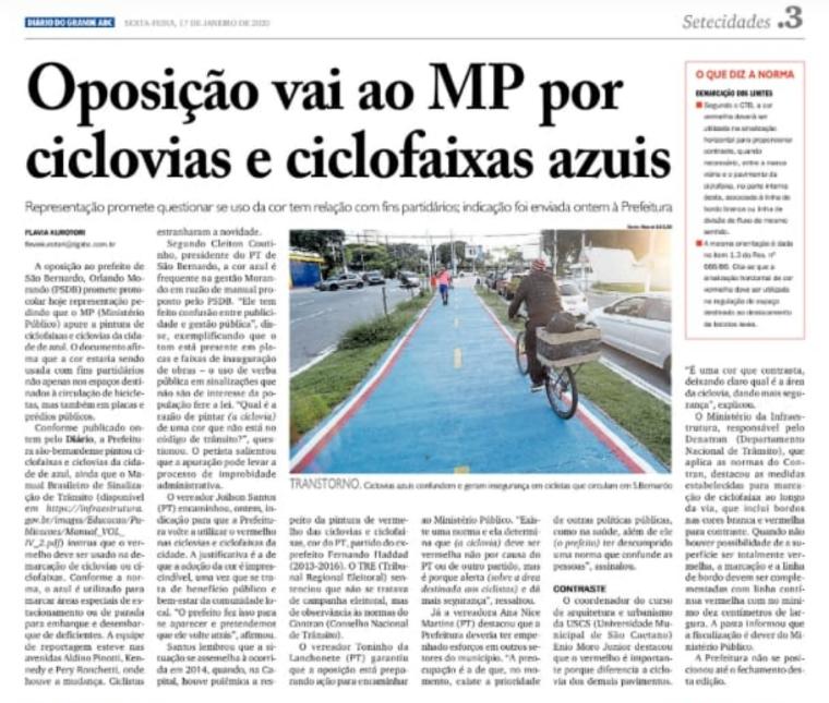 Ciclofaixas x Corredores da SBCTRANS em São Bernardo : Qual a mais reprovada pelosMunicipes?