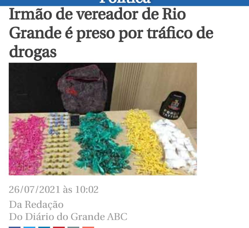Irmão de Vereador do PSD preso por Tráfico deDrogas.